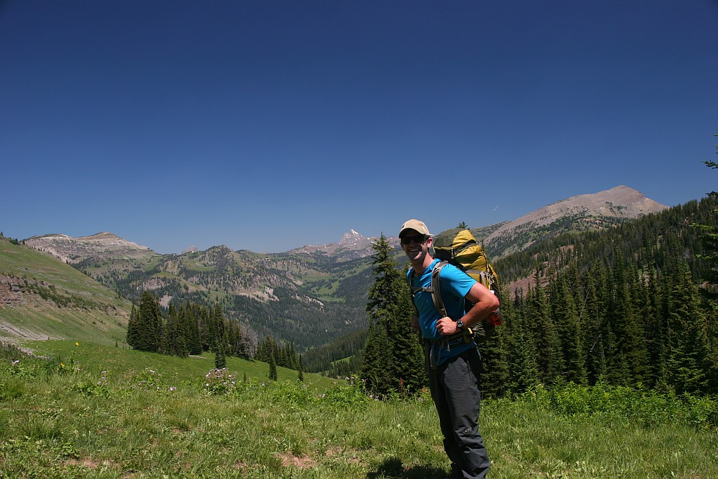 A through-hiker heading for backcountry adventure